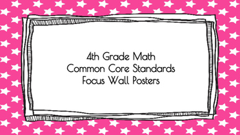 4th Grade Math Standards on Pink Star Frame