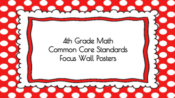 4th Grade Math Standards on Red Polka Dotted Frame