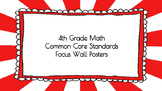 4th Grade Math Standards on Red Sunburst Frame