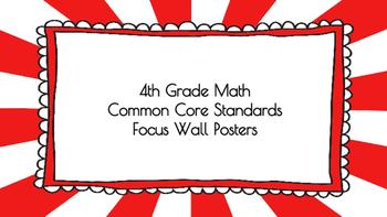 4th Grade Math Standards on Red Sunburst Frame