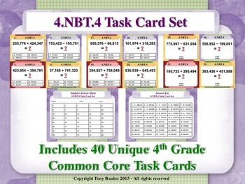 4th Grade Math Task Cards - Add and Subtract Multi-Digit W
