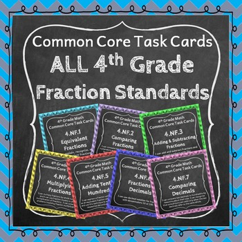 4th Grade Math Task Cards Bundle - ALL Fraction (NF) Stand