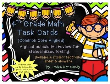 4th Grade Math Task Cards - Common Core Aligned - Includes
