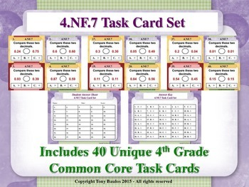 4th Grade Math Task Cards - Compare Two Decimals to Hundre