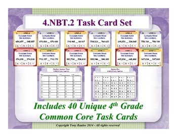 4th Grade Math Task Cards - Compare Two Multi-Digit Number