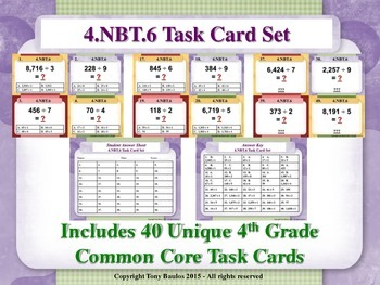 4th Grade Math Task Cards - Find Whole-Number Quotients an