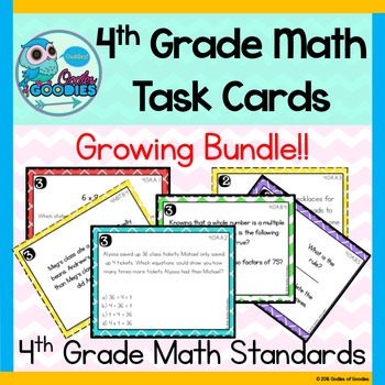 4th Grade Math Task Cards - (Growing Bundle)