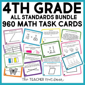 4th Grade Math Task Cards Mega Bundle