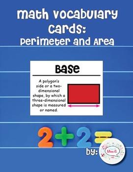 4th Grade Math Vocabulary Cards: Algebra: Perimeter and Ar