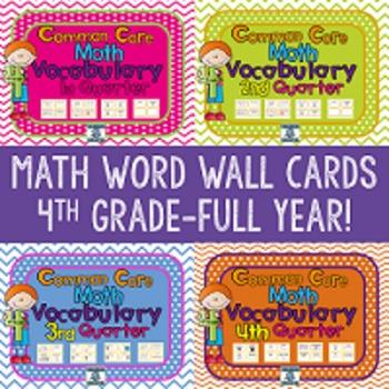 4th Grade Math Vocabulary Cards BUNDLE