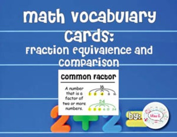 4th Grade Math Vocabulary Cards: Fraction Equivalence and