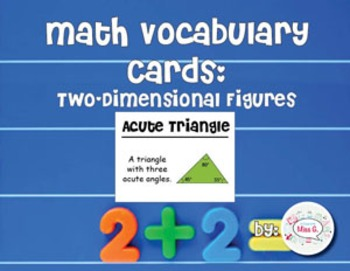 4th Grade Math Vocabulary Cards: Two-Dimensional Figures