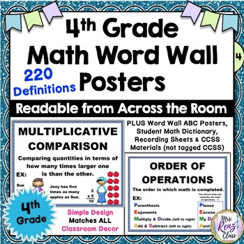 Math Word Wall Posters 4th Grade  (522 Pages of Materials)