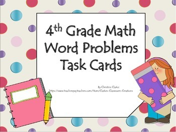 4th Grade Math Word Problem Task Cards