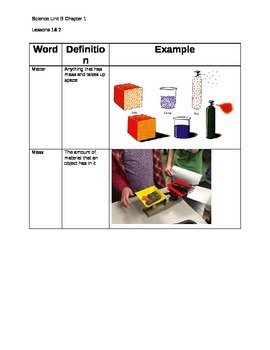 4th Grade Matter Vocabulary study guide aligned with Scott