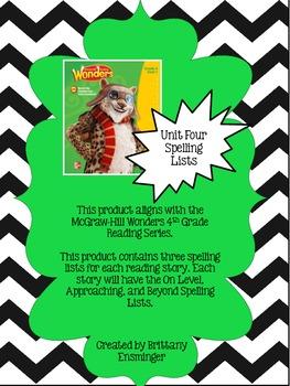 4th Grade McGraw-Hill Wonders Unit 4 Spelling Lists