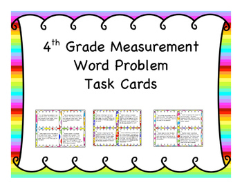 4th Grade Measurement Word Problem Task Cards 12 Set {Grow