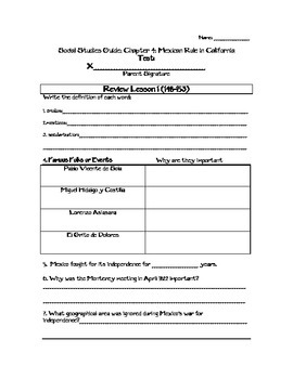 4th Grade Mexican Rule in California Study Guide