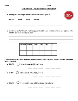 4th Grade Mid Module 1 Review and Quiz