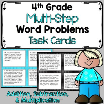 4th Grade Multi-Step Problem Solving Task Cards - Add, Sub