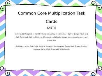 4th Grade Multiplication Common Core Task Cards 4.NBT.5