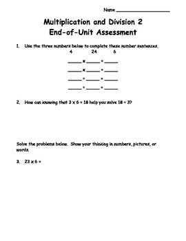 4th Grade Multiplication and Division Unit 2 Assessment