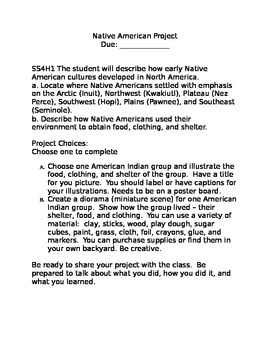 4th Grade Native American Project