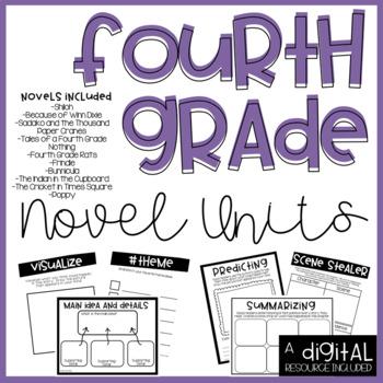 4th Grade Novel Units Bundle-Print and Go