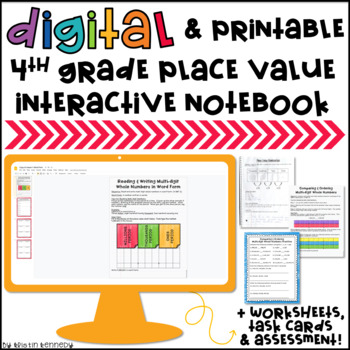4th Grade Place Value Interactive Notebook, Worksheets, Ta