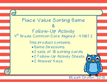 Place Value Sort Game and Printable Follow Up Practice-2 D