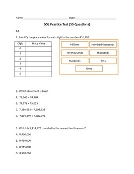 4th Grade Practice SOL Test (50 Questions)