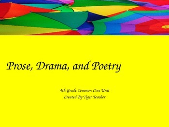 4th Grade Prose, Drama, Poetry Powerpoint - Common Core Aligned!