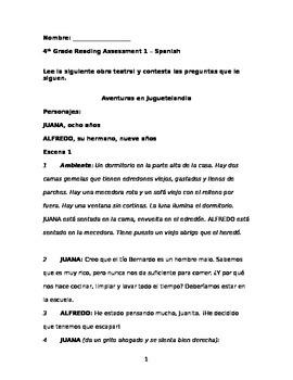 4th Grade Reading Assessment 1 - Spanish