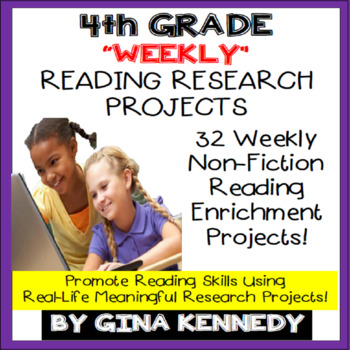 4th Grade Reading Enrichment, Weekly Research Projects For