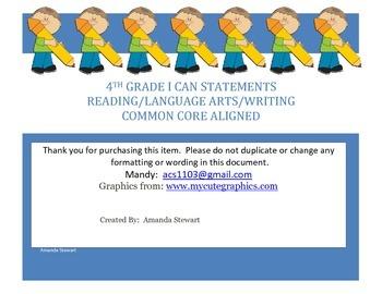 4th Grade Reading, LA, Writing Common Core I Can Statements