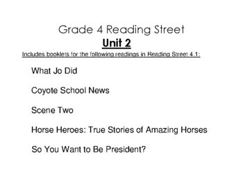 4th Grade Reading Street Activity Pack - Unit 2