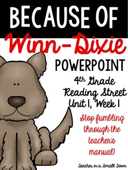 "4th Grade Reading Street ""Because of Winn-Dixie"" Powerpoin"