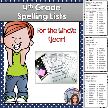 4th Grade Reading Street Spelling Lists Whole Year