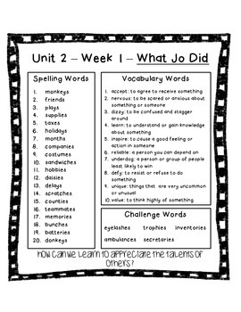 4th Grade Reading Street Unit 2 Spelling and Vocabulary Word List