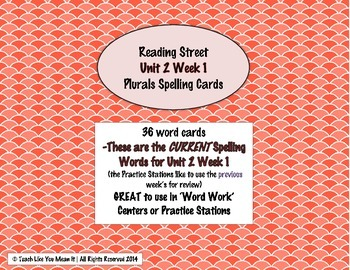 4th Grade Reading Street Unit 2 Week 1 SPELLING CARDS
