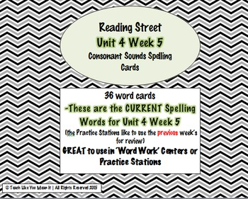 4th Grade Reading Street Unit 4 Week 5 SPELLING CARDS + Ce