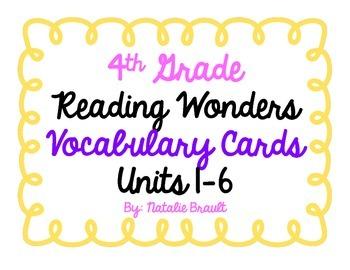 4th Grade Reading Wonders Vocabulary Cards