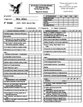 4th Grade Report Card Aligned to Common Core