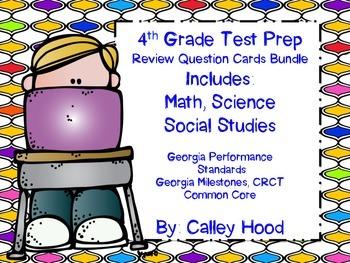 4th Grade Review Question Card Bundle CC, GPS, GA Mileston