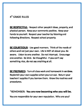 4th Grade Rules and Positive Incentive System