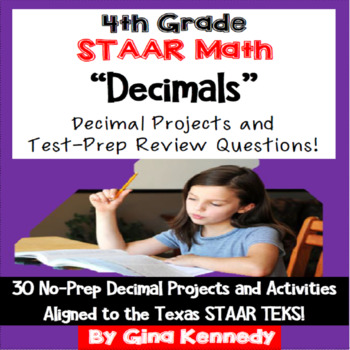 4th Grade STAAR Math Decimals, 30 Enrichment Projects and