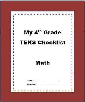 "4th Grade STAAR Math TEKS Checklist ""NEW TEXAS MATH STANDARDS"""