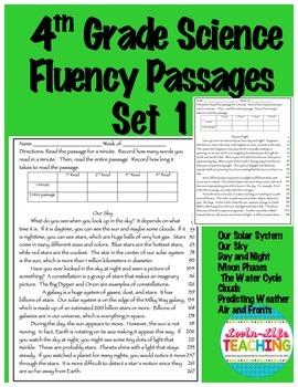 Fluency Passages 4th Grade Science Set 1- Solar System, We
