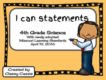 4th Grade Science Missouri Learning Standards I can Statem