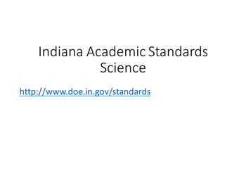 4th Grade Science Standards for 2016 (Indiana)